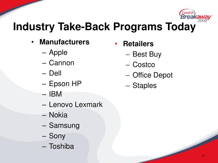 Industry Take-Back Programs Today