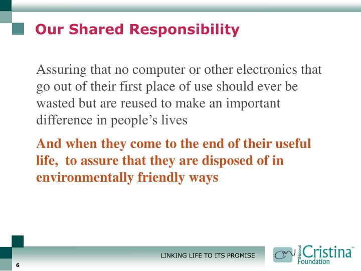 Our Shared Responsibility