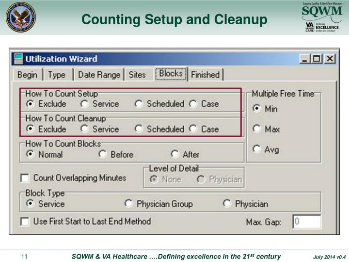 Counting Setup and Cleanup