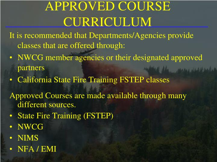 APPROVED COURSE CURRICULUM