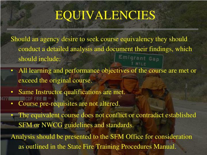 EQUIVALENCIES
