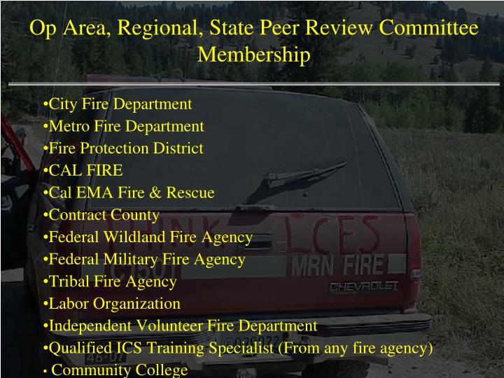 Op Area, Regional, State Peer Review Committee Membership