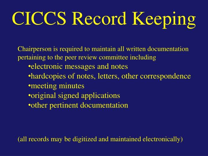 CICCS Record Keeping