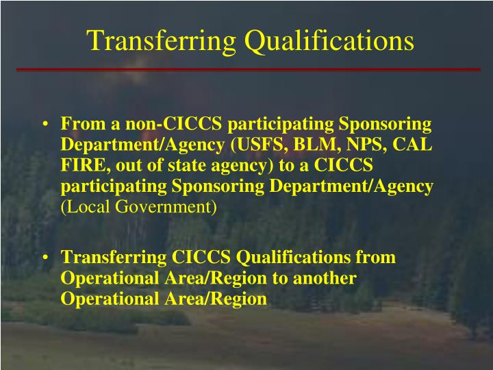 Transferring Qualifications