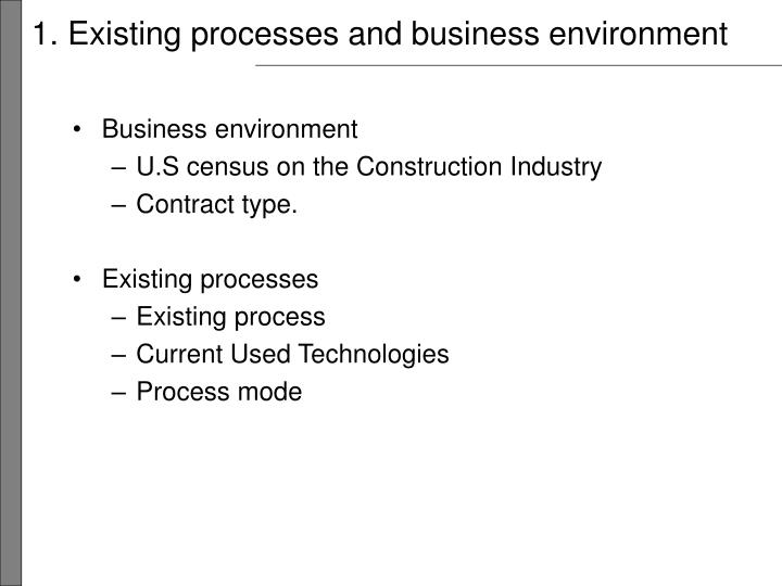 1 existing processes and business environment