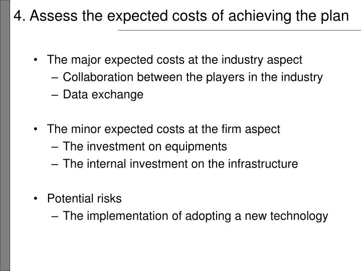 4. Assess the expected costs of achieving the plan