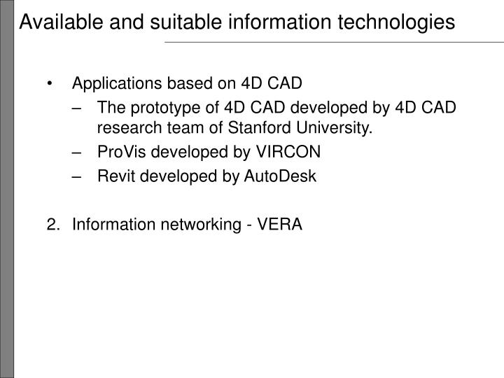 Available and suitable information technologies