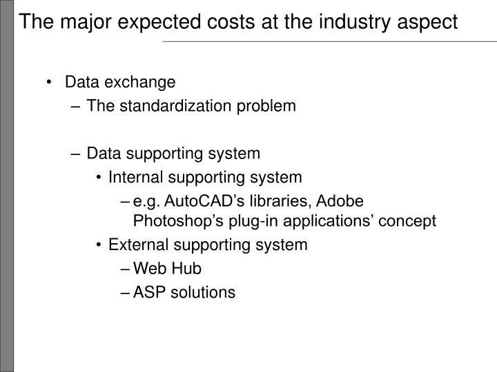 The major expected costs at the industry aspect