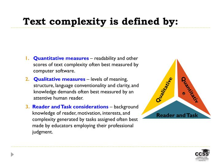 Text complexity is defined