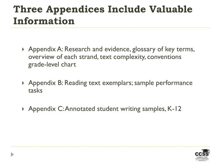 Three Appendices Include Valuable Information