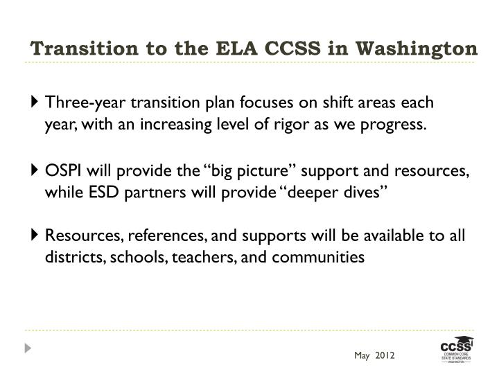 Transition to the ELA CCSS in Washington
