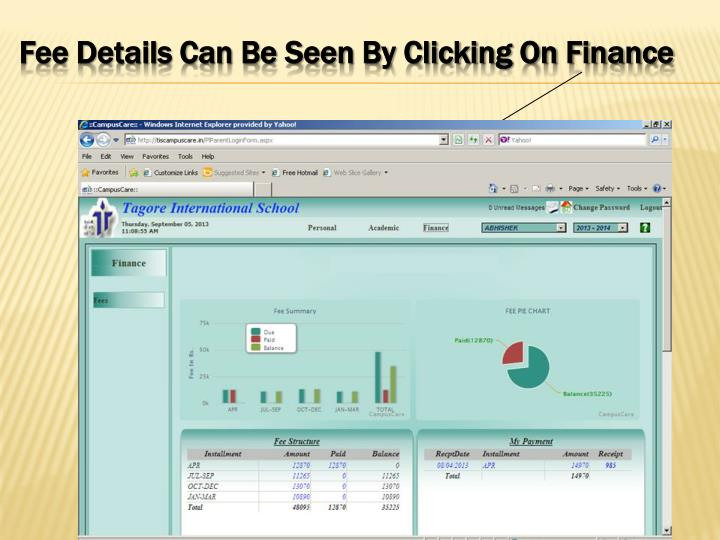 Fee Details Can Be Seen By Clicking On Finance