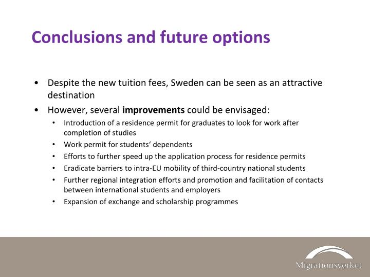 Conclusions and future options