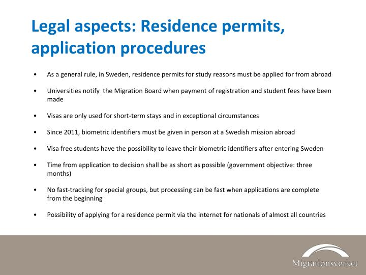 Legal aspects: Residence permits, application procedures
