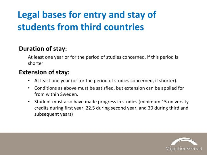 Legal bases for entry and stay of students from third countries