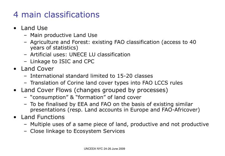 4 main classifications