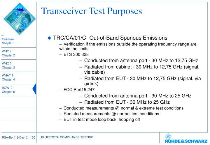 Transceiver Test Purposes