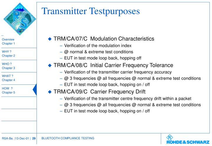 Transmitter Testpurposes