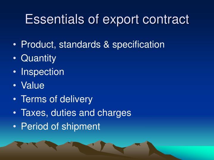 Essentials of export contract