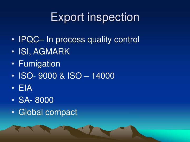 Export inspection