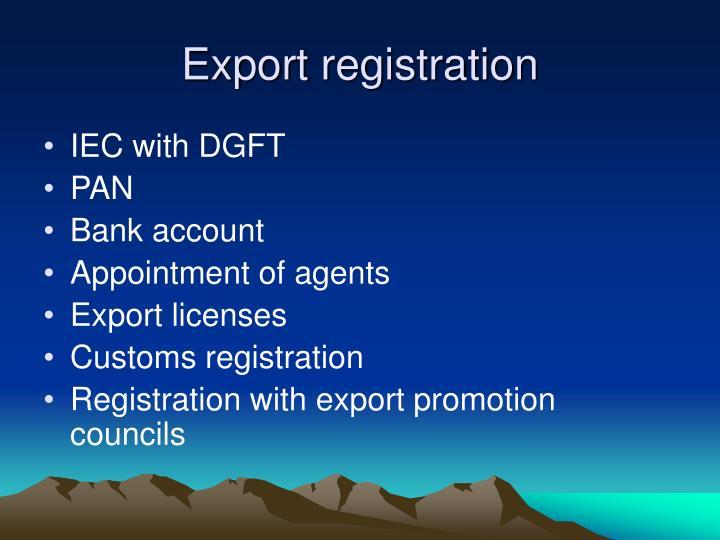 Export registration