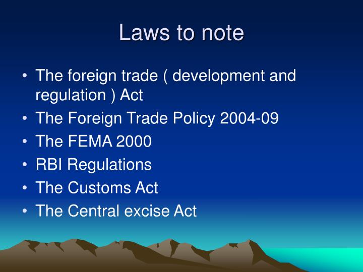 Laws to note