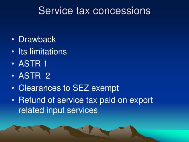 Service tax concessions