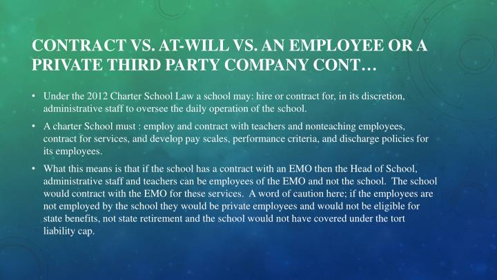 Contract vs. at-will VS. an employee or a private third party