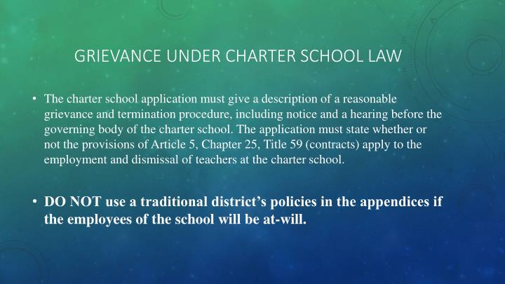 Grievance under Charter School Law