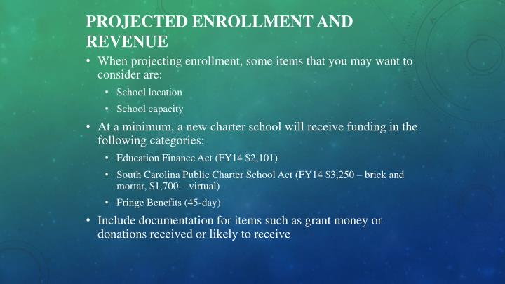 Projected Enrollment and Revenue