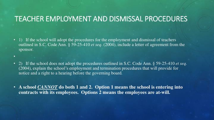 Teacher Employment and Dismissal Procedures