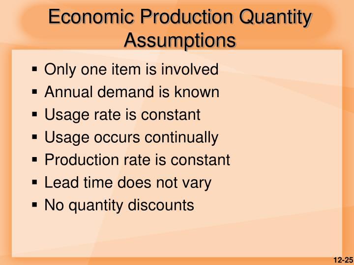 Economic Production Quantity Assumptions
