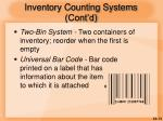 inventory counting systems cont d