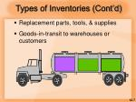 types of inventories cont d
