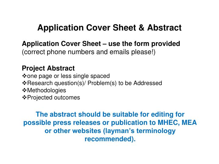 Application Cover Sheet & Abstract