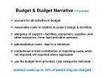 budget budget narrative 15 points