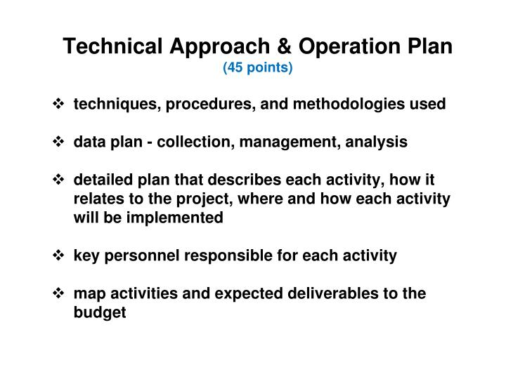 Technical Approach & Operation Plan