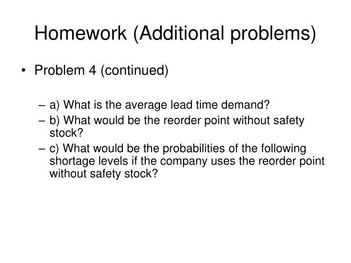 Homework (Additional problems)