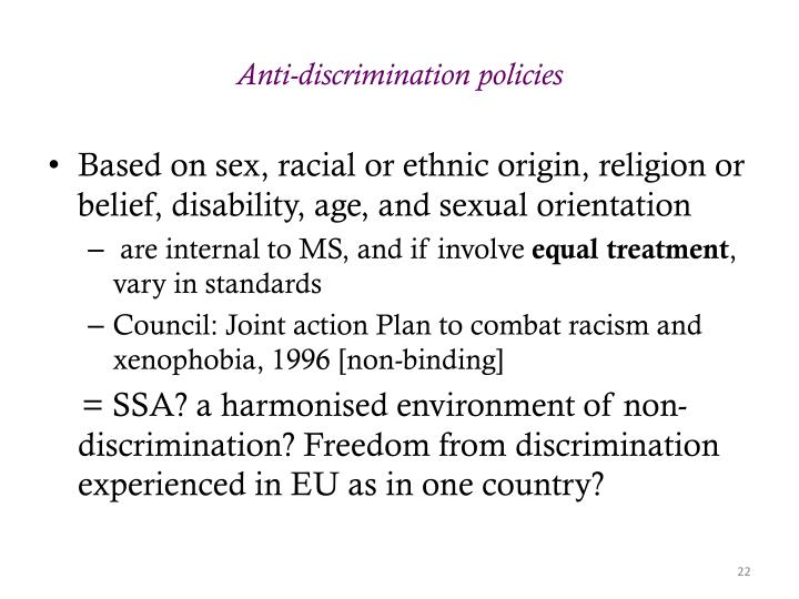 Anti-discrimination policies