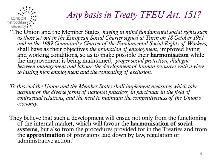 Any basis in Treaty TFEU Art. 151?