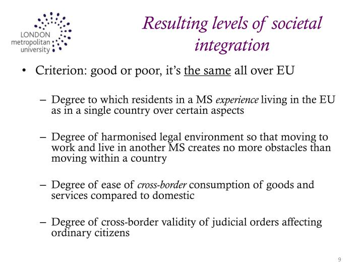 Resulting levels of societal integration