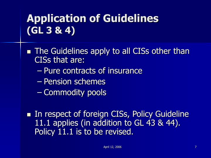 Application of Guidelines