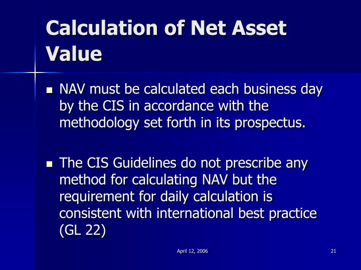 Calculation of Net Asset Value