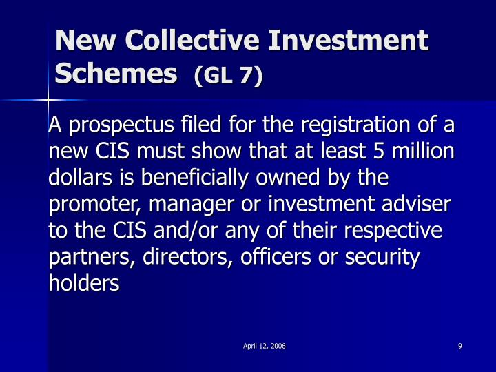 New Collective Investment Schemes