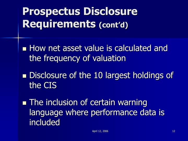 Prospectus Disclosure Requirements
