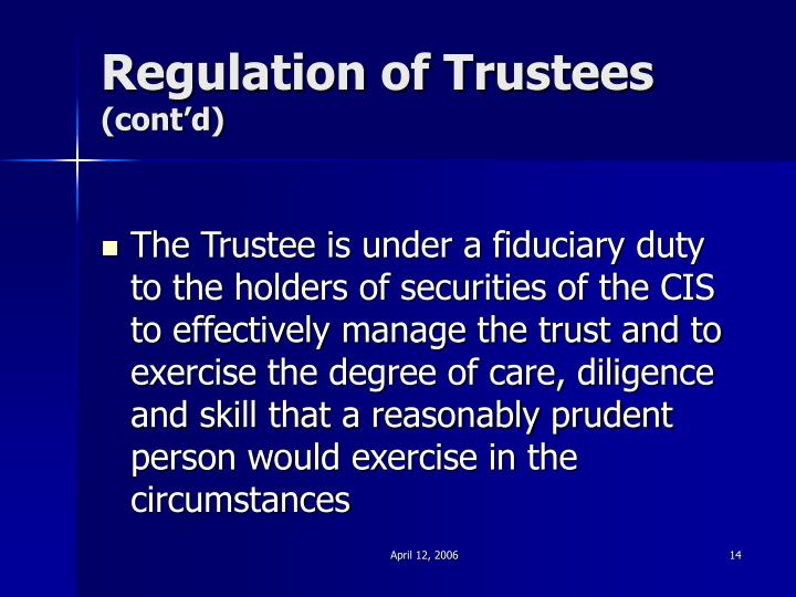 Regulation of Trustees