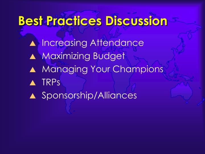 Best Practices Discussion