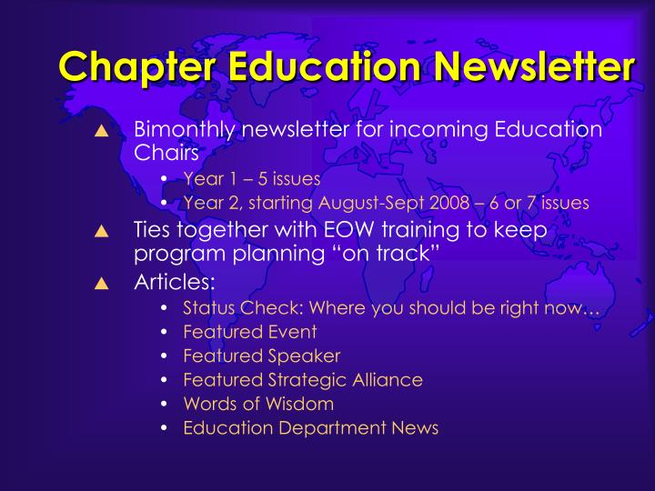 Chapter Education Newsletter