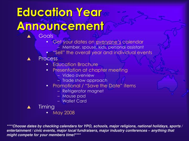 Education Year Announcement