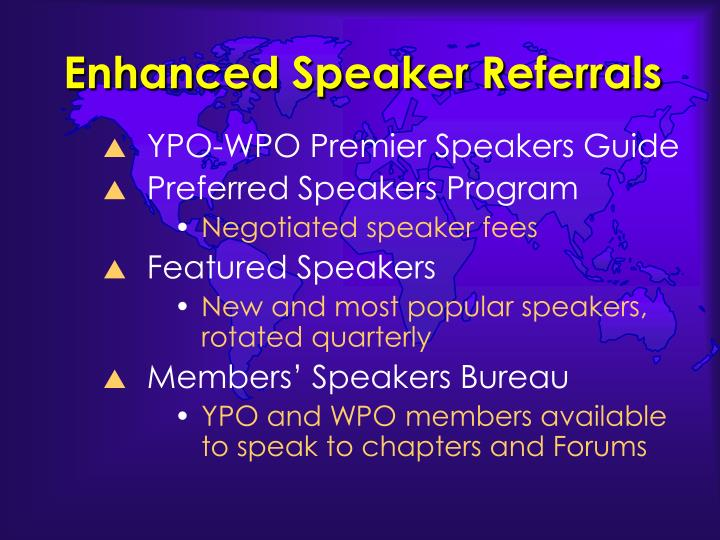 Enhanced Speaker Referrals